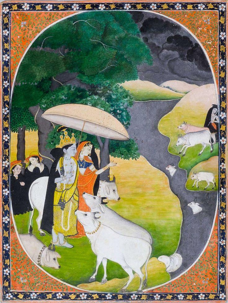 Radha Krishna in Rainy Season 1820 Kangra. School of purkhu. Kapoor Gallery (via Twitter: @dpanikkar)