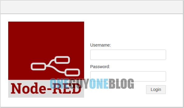 Mosquitto and Node Red on Raspberry Pi: screenshot of the Node Red GUI login screen