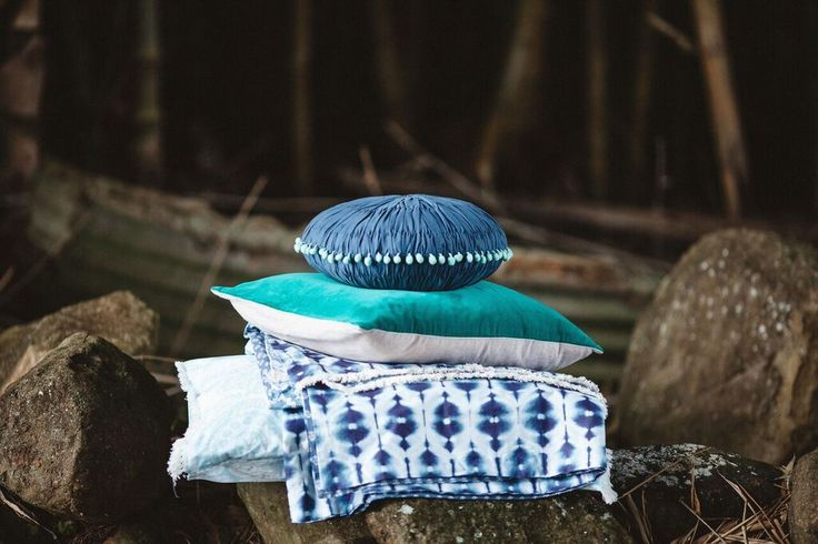 Twinkling Night Star Cushion Indigo / Emerald Velvet Sky Cushion /  Daydreaming Quilt Available from www.shannonfricke.com