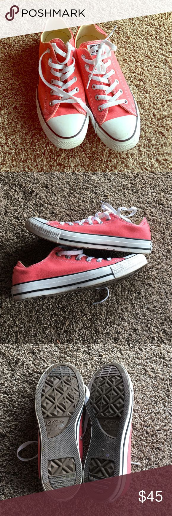 Coral Converse shoes Awesome converse shoes! Worn a handful of times! Some wear on sides and mark on top white part. Otherwise they looks good ☺️ true to size. Converse Shoes Sneakers