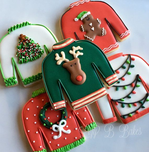 12 Ugly Christmas Sweater Cookies por LizyBsbakeshop en Etsy