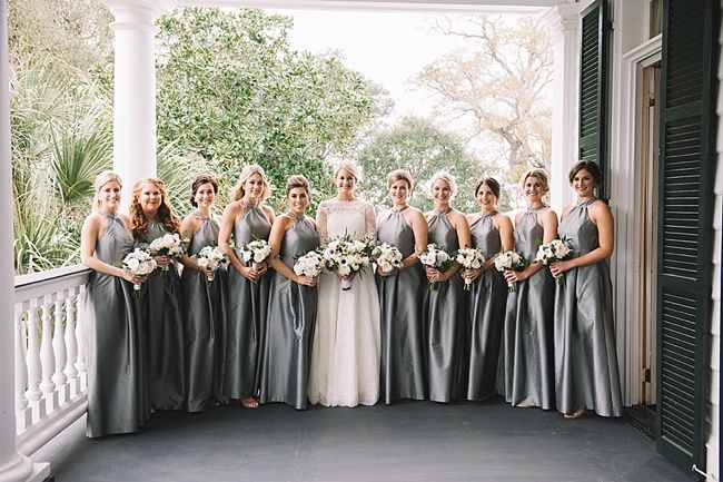 Anna & Woody's beautiful bridesmaids at their Lowndes Grove Plantation Wedding | Charleston, SC | Winter Wedding Inspiration | Real wedding featured on The Wedding Row | Photo by Jennings King Photography