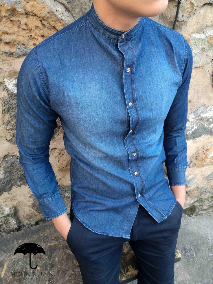 Camisa de Mezclilla en Cuello Mao para hombre - Moon & Rain