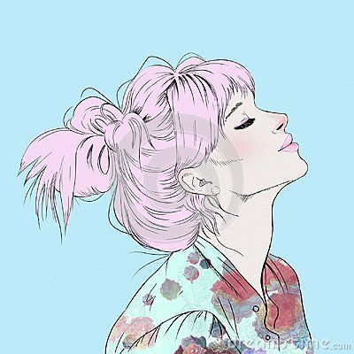 Illustration of young girl profile with a pink hair. She has a pretty light pink hair, silk blouse with a flower print and long lashes. The images of a girl on isolated blue background