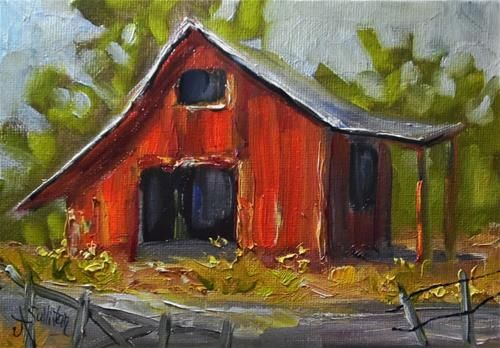 "Daily Paintworks - ""A Few Yellow Flowers barn pain..."" by Angela Sullivan"