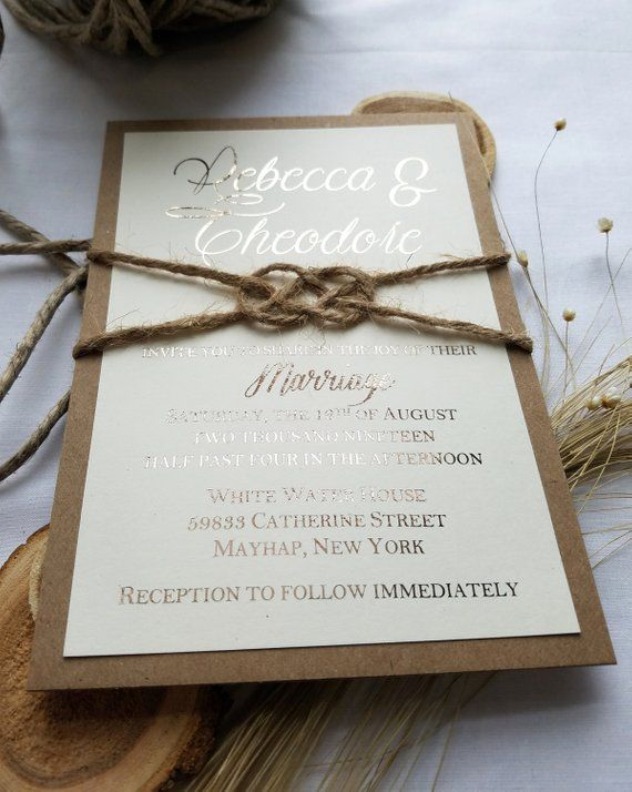 Rustic Gold Wedding Invitation And Twine Knot Rustic Rose Gold Rose Gold Wedding Invitations Rustic Rose Gold Wedding Wedding Chalkboard Signs