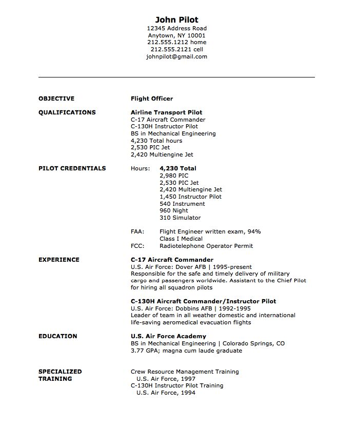 air force resume