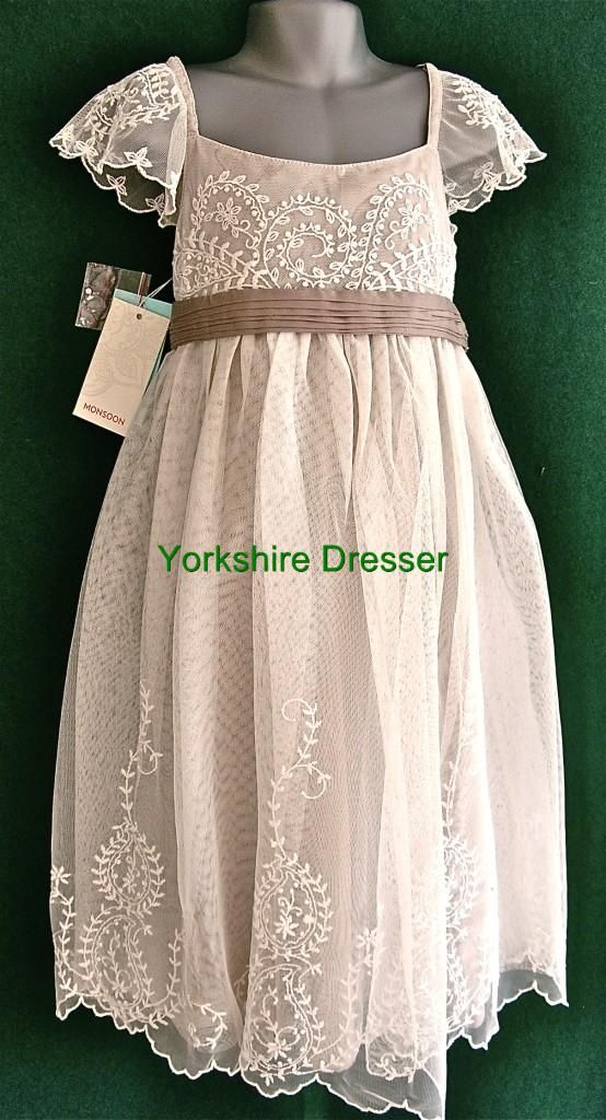 girls estella lace dress | New MONSOON Girls Ivory AYLA Lace Tulle Party Bridesmaid Dress - 8 9 ...