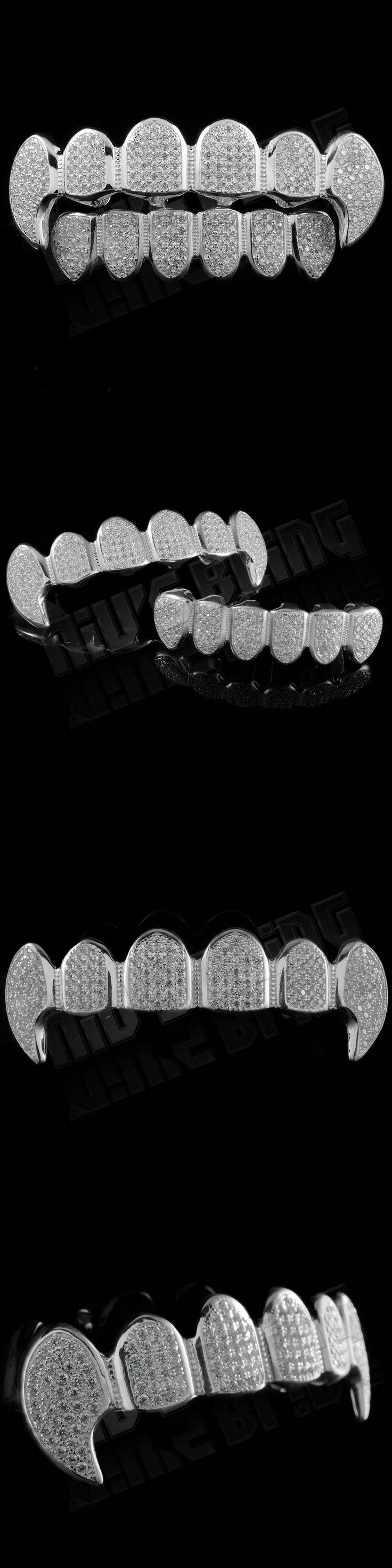 Grillz Dental Grills 152808: .925 Sterling Silver Vampire Dracula Fangs Top Bottom Joker Grillz Teeth Grills BUY IT NOW ONLY: $64.99