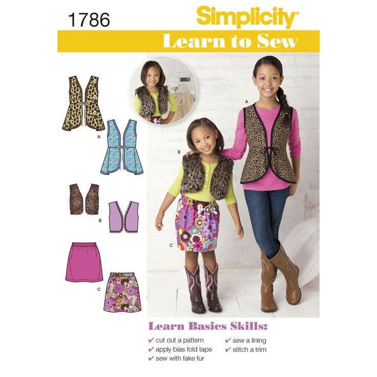 Simplicity Pattern 1786 Learn to Sew Girls Sportswear, Vests, Skirts - Sizes 3 to 14 from DueNorthCo on Etsy Studio