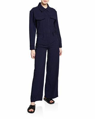 a7a4883370a9 ... Clothing   Jumpsuits   Rompers by Avivey Women. Norma Kamali Designer  Pinstripe Oversized Jeans Wide-Leg Jumpsuit