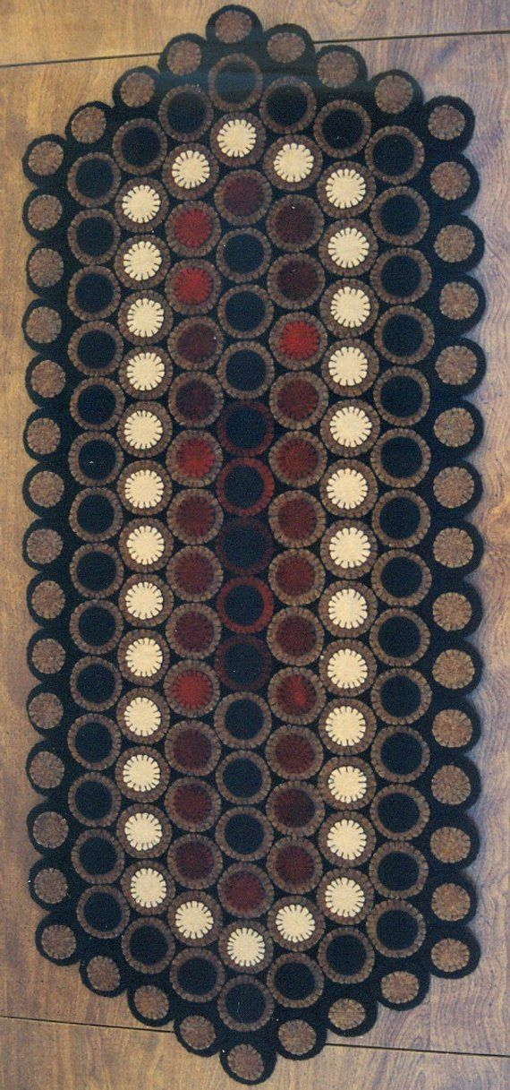 PRIMITIVE WOOL APPLIQUE PENNY RUG PATTERN ANTIQUE TRADITIONAL *NEW*