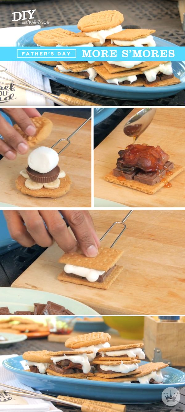 As long as you're outside and the grill's on, why not make s'mores for dessert? Everyone loves these yummy, gooey, chocolate-y snacks—and the kids can help put them together. Hallmark's set of two s'mores sticks are the perfect accompaniment at the BBQ, fire pit, or a present for Father's Day!
