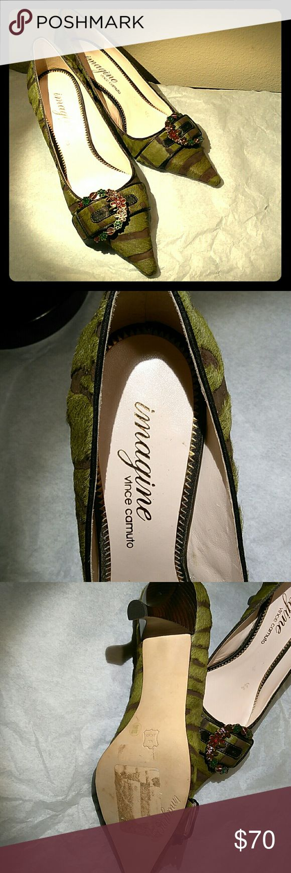 Lady's shoes Vince Camuto lady's shoes, olive green and brown zebra stripes, jeweled buckle. Never worn. Size 8 1/2 B Vince Camuto Shoes Heels