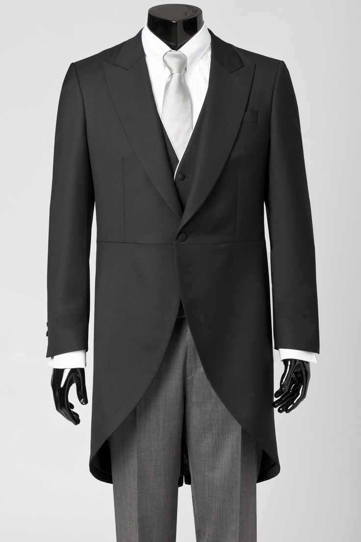 Black tail coat with matching waistcoat, grey, tailord trouser, white shirt and periwinkle blue tie