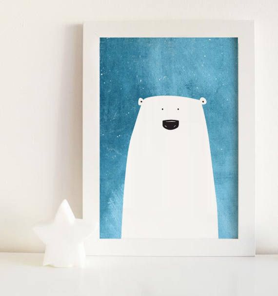 Polar bear print polar bear kids art polar bear nursery wall
