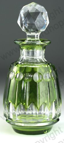 c.1930s VAL ST. LAMBERT GREEN OVERLAY CRYSTAL SCENT PERFUME BOTTLE