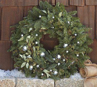 Live Fir Eucalyptus & Silver Ornaments Wreath. Sub Fir with an Australian native. Would smell really good.