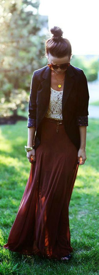 Burgundy Maxi for Fall, not too fond of the blazer. Maybe a cardigan instead.