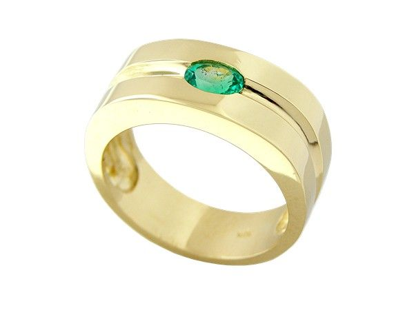 Solid 18K gold men's ring with 0.49 Ct. oval shape natural emerald by www.GreenInGold.com