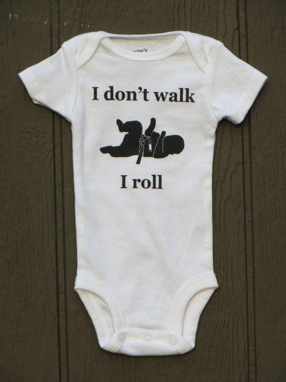 """baby Brazilian jiu jitsu bodysuit """"I roll"""" BJJ"""
