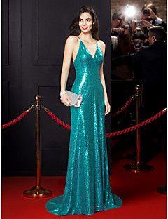 TS+Couture+Evento+Formal+Vestido+-+Estilo+Celebridade+Sereia+Com+Alças+Finas+Cauda+Escova+Paetês+com+Lantejoulas+–+BRL+R$+3.084,59