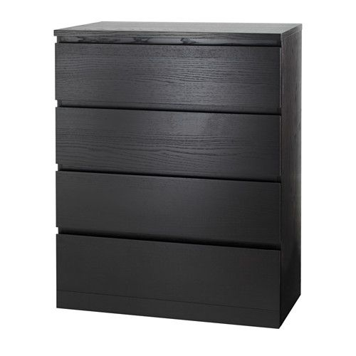 IKEA - MALM, Chest of 4 drawers, black-brown, $199 , Real wood veneer will make this chest of drawers age gracefully.Smooth running drawers with pull-out stop.If you want to organise inside you can complement with SKUBB box, set of 6.