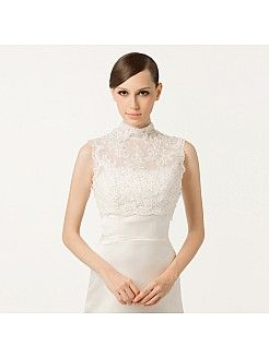 High Neck Sleeveless Lace Bridal Jacket - USD $62.98