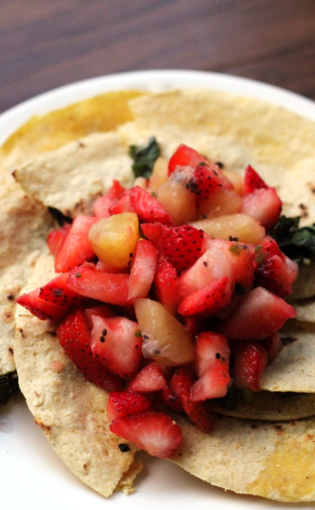 squash blossom and kale quesadillas with strawberry kiwi salsa squash ...