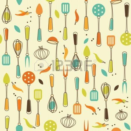 Seamless Pattern di Utensili da cucina in Retro-Styled Archivio Fotografico