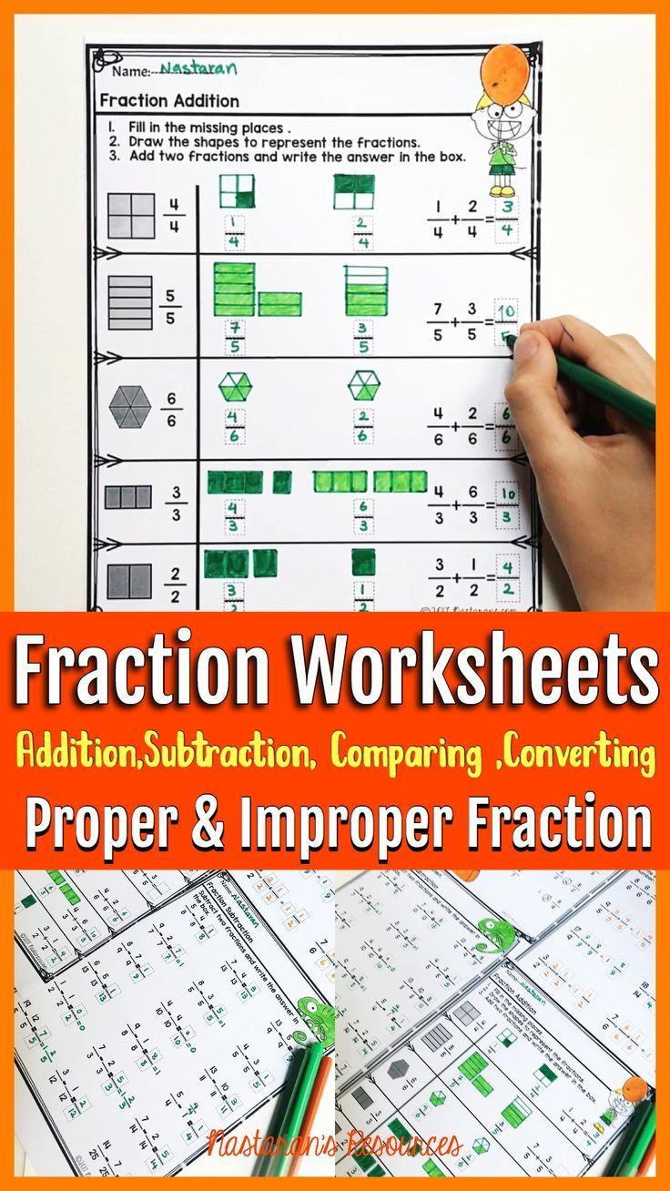 5th Grade Fraction Unit Fractions Worksheets Fractions Proper Fractions