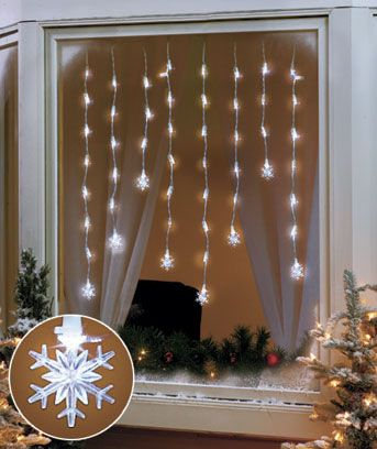 """LED Window Icicle Lights SNOWFLAKES or STARS Light up your windows in the spirit of the holiday with these LED icicle lights. Hang a string of these bright white lights along the top of a window for an effect that recalls icicles on the eaves of a house. Each light string has 50 LED lights on 8 vertically hanging strands. Equipped with end-to-end connectors, as many as 3 strings can be linked together for an eye-catching display. UL-Listed. Plastic. 56"""". An energy-saving alternative. $10.95…"""