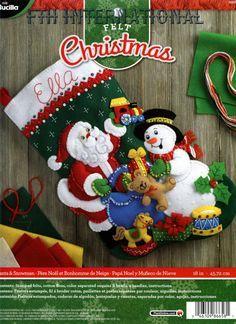 """Bucilla Santa & Muñeco De Nieve ~ 18"""" Fieltro Navidad Media Kit #86658 Escarchado Juguetes Nuevos"""