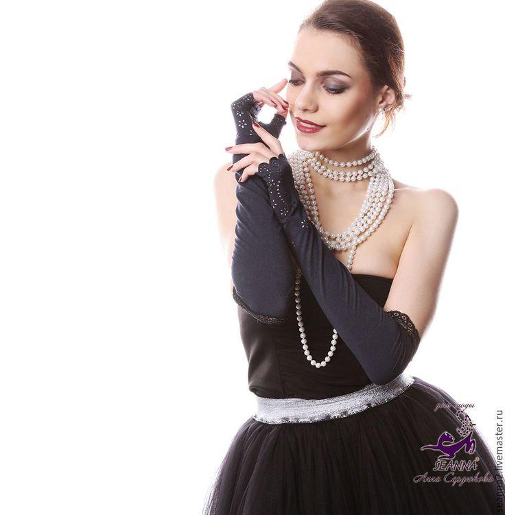 Купить Роскошные митенки-перчатки эластичные с кружевом короткие черные - перчатки кружевные