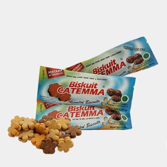 Biskuit Catemma | Harga: Rp 10.000 | Rasa: Coklat, Leci, Mangga, dan Jeruk | Isi Kemasan: 13 – 15 Buah | Berat: 90 Gram