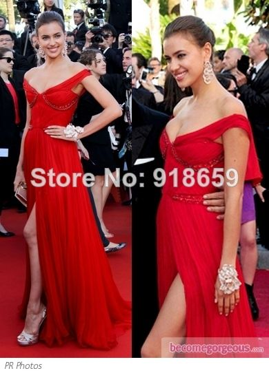Wholesale-Off The Shoulder Slits Irina Shayk Red Sexy Evening Dress Canners Film Festival Red Carpet Dress $159.00
