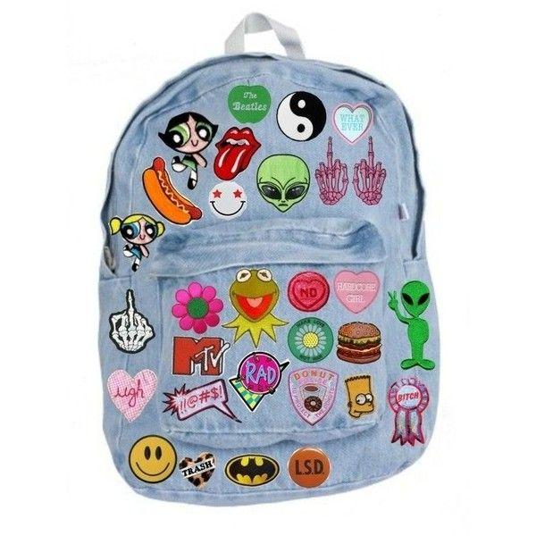 Bag: backpack patch kawaii grunge pastel fashion back to school... ❤ liked on Polyvore featuring bags, backpacks, rucksack bag, hipster bag, blue backpack, knapsack bags and grunge backpack