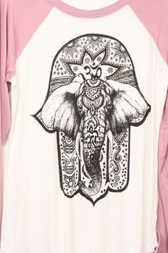 Hamsa Hand Elephant Junior Baseball T-shirt