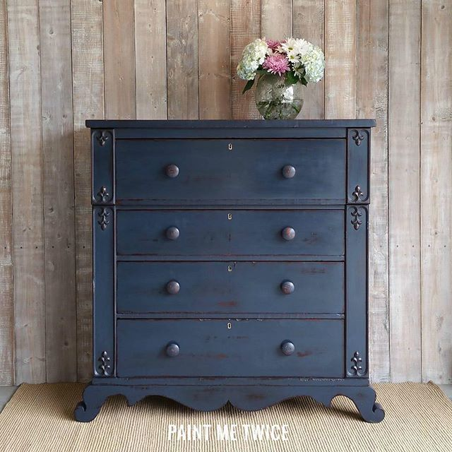 Painted Me Twice painted this piece in a mix of Napoleonic Blue and Graphite Chalk Paint® and finished with Clear and Dark Wax.  #anniesloan #chalkpaint
