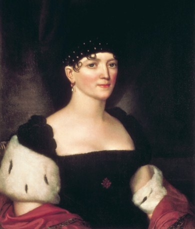 Elizabeth Monroe by John Vanderlyn. Wife of Pres. James Monroe. Elizabeth began her tenure as First Lady on March 4, 1817, when her husband commenced his first term as the fifth President of the United States. Her husband was re-elected to a second term in office in 1820, therefore she remained in her role of First Lady until March 3, 1825. (Wikipedia)