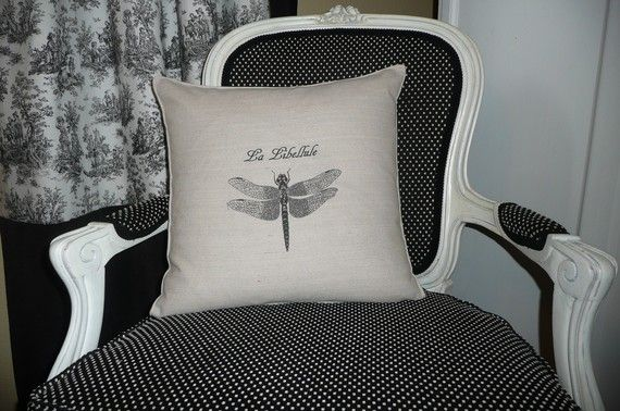 La Libellule The Dragonfly Pillow Cover by chateauthreefork, $19.50