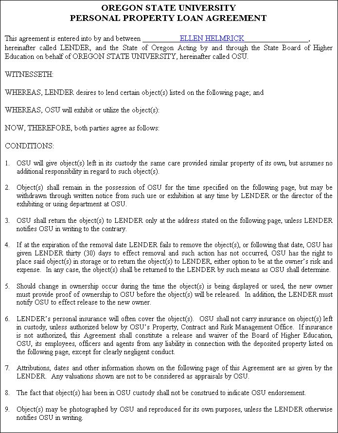 Printable Sample Personal Loan Contract Form Laywers