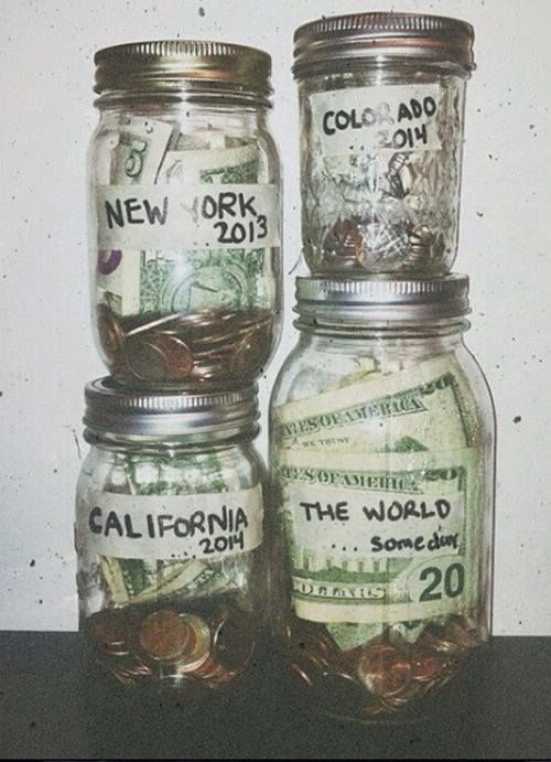 senior graduation travel fund, multiple jars with destinations written on them, whichever has the most money at the end of the shower, all the money goes into a travel fund for when the baby gradutes