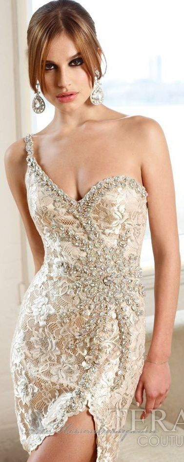 Embellished short skirt wedding gown in cream