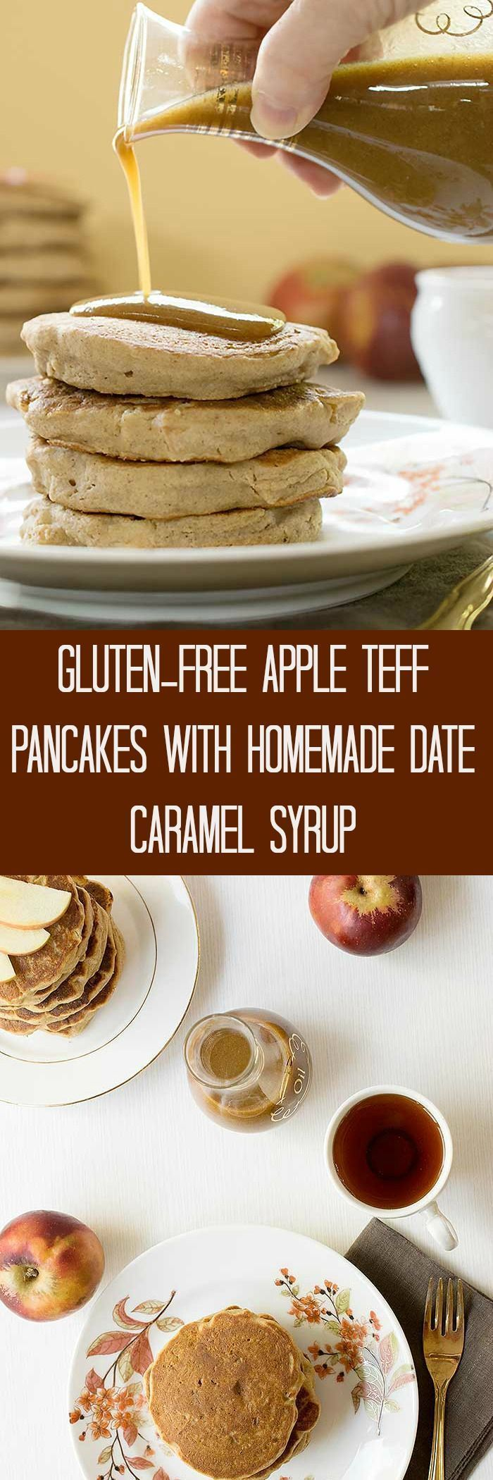 Celebrate another awesome fall morning with these Gluten-free Apple Teff Pancakes with Homemade Date Caramel Syrup. Great for weekends, holidays or any time you'd like a healthy breakfast that tastes like dessert.