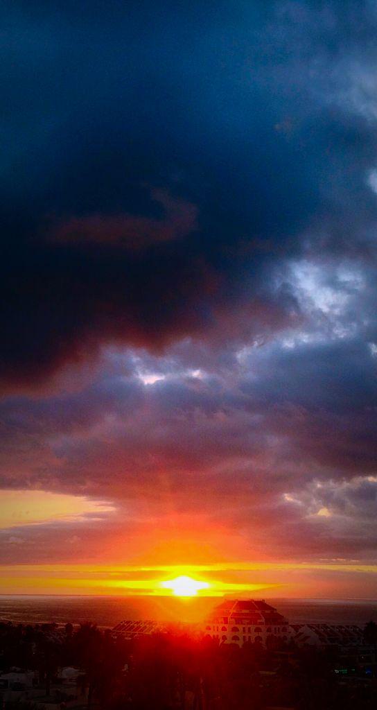 Sunset over Playa de las Americas, Tenerife.