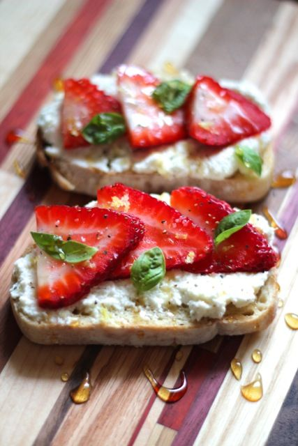 Ricotta Toasts with Strawberries, Basil & Honey | Alaska from Scratch