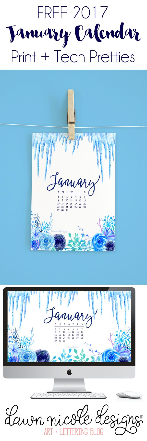 January 2017 Calendar + Tech Pretties. One of my most popular posts each month are these free pretty printables and calendars for your tech! | DawnNicoleDesigns.com