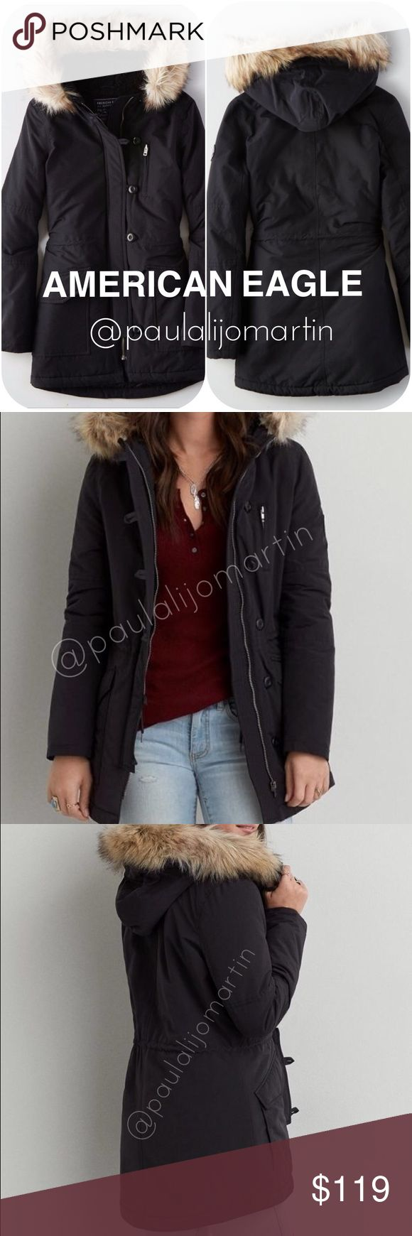 FINAL SALE NWT! American Eagle BLACK Parka Jacket As you can see in the photo TAG is missing but extra button are still attached.  The jacket is brand new  - Water resistant and windproof - Adjustable cinched waist - Interior pocket at chest - Fleece lined pockets - Removeable faux fur trim at hood - Faux sherpa lining at interior - Adjustable drawstring at waist  More Stock available:  - Size XS One Green  - Size S  ONE green  - Size MED One GREEN   NO TRADES 🚫  If you want more photos…
