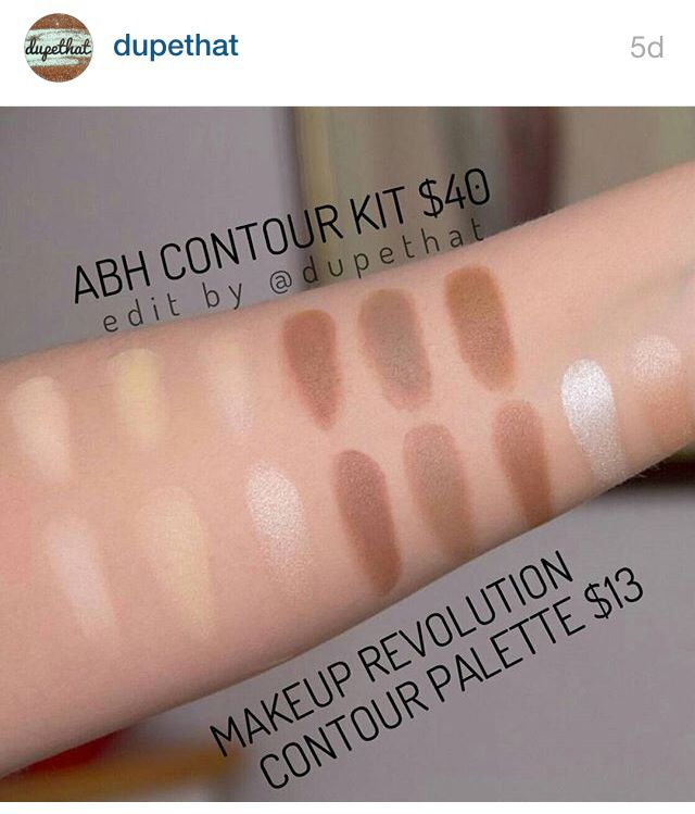 Abh contour kit duped by Makeup Revolution.....EXACT DUPES! Shipping is expensive, so unless you are placing a large order its not worth it. But it comes with two extra highlighters